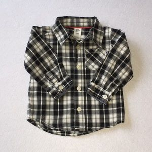 Baby B'gosh Black and White Plaid Shirt 12 Months